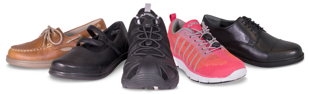 Different styles of diabetic shoes